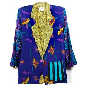 Vintage The Icing Funky Colorful Blazer Size M EUC
